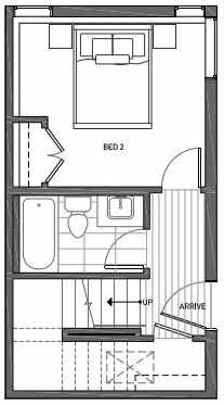First Floor Plan of 3062F SW Avalon Way in West Seattle of Isla Townhomes