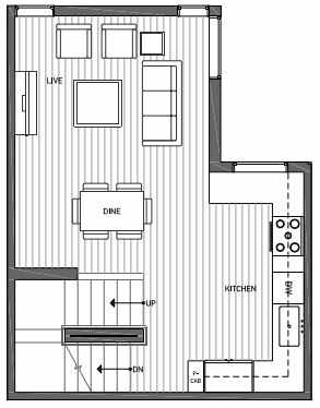 Second Floor Plan of 3062F SW Avalon Way in West Seattle of Isla Townhomes