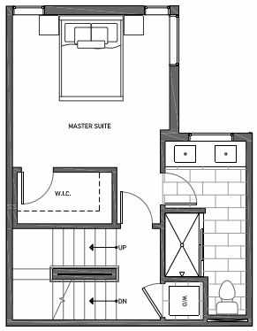 Third Floor Plan of 3062F SW Avalon Way in West Seattle of Isla Townhomes
