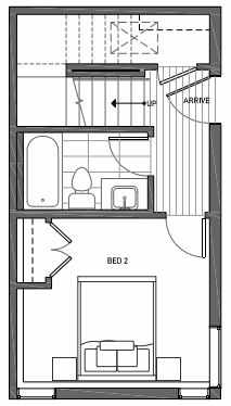 First Floor Plan of 3062G SW Avalon Way in West Seattle of Isla Townhomes