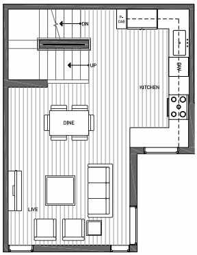 Second Floor Plan of 3062G SW Avalon Way in West Seattle of Isla Townhomes