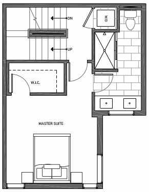 Third Floor Plan of 3062G SW Avalon Way in West Seattle of Isla Townhomes