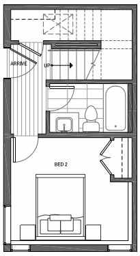 First Floor Plan of 3062I SW Avalon Way in West Seattle of Isla Townhomes