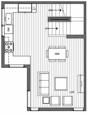 Second Floor Plan of 3062I SW Avalon Way in West Seattle of Isla Townhomes