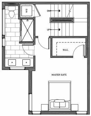 Third Floor Plan of 3062I SW Avalon Way in West Seattle of Isla Townhomes