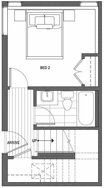 First Floor Plan of 3062H SW Avalon Way in West Seattle of Isla Townhomes