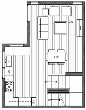 Second Floor Plan of 3062H SW Avalon Way in West Seattle of Isla Townhomes