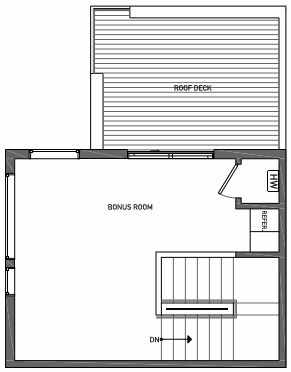 Fourth Floor Plan of 3062H SW Avalon Way in West Seattle of Isla Townhomes