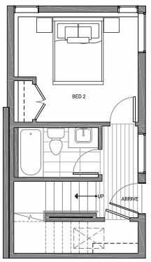 First Floor Plan of 3070A SW Avalon Way in West Seattle of Isla Townhomes