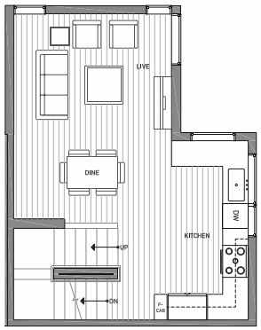 Second Floor Plan of 3070A SW Avalon Way in West Seattle of Isla Townhomes