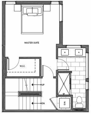 Third Floor Plan of 3070A SW Avalon Way in West Seattle of Isla Townhomes