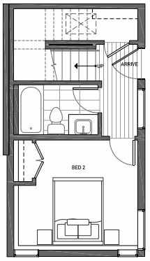 First Floor Plan of 3070B SW Avalon Way in West Seattle of Isla Townhomes