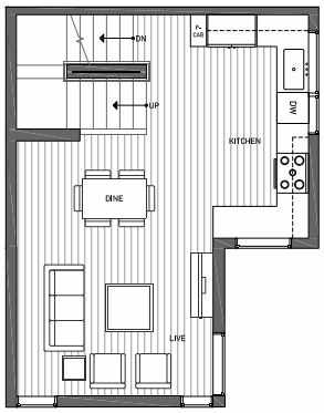 Second Floor Plan of 3070B SW Avalon Way in West Seattle of Isla Townhomes