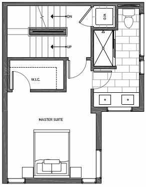Third Floor Plan of 3070B SW Avalon Way in West Seattle of Isla Townhomes