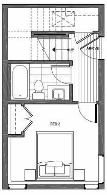 First Floor Plan of 3070D SW Avalon Way in West Seattle of Isla Townhomes
