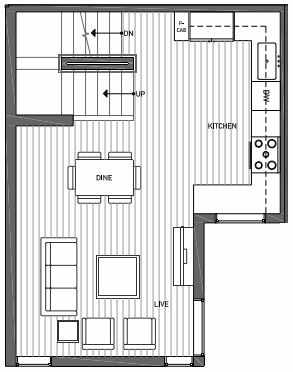Second Floor Plan of 3070D SW Avalon Way in West Seattle of Isla Townhomes