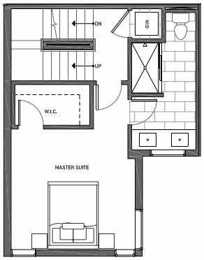 Third Floor Plan of 3070D SW Avalon Way in West Seattle of Isla Townhomes