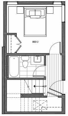 First Floor Plan of 3070C SW Avalon Way in West Seattle of Isla Townhomes