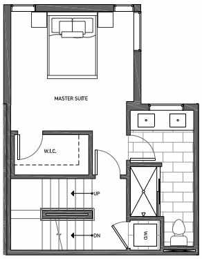 Third Floor Plan of 3070C SW Avalon Way in West Seattle of Isla Townhomes