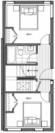 First Floor Plan of 3070E SW Avalon Way in West Seattle of Isla Townhomes