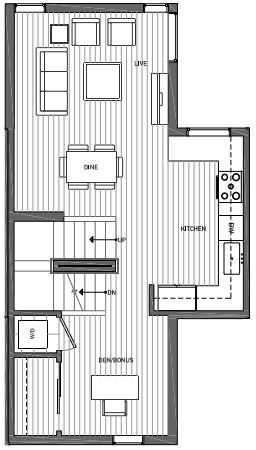 Second Floor Plan of 3070E SW Avalon Way in West Seattle of Isla Townhomes