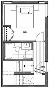 First Floor Plan of 3070F SW Avalon Way in West Seattle of Isla Townhomes