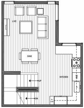 Second Floor Plan of 3070F SW Avalon Way in West Seattle of Isla Townhomes