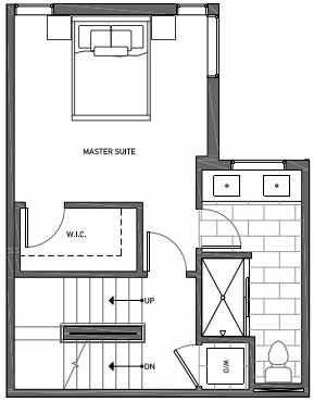 Third Floor Plan of 3070F SW Avalon Way in West Seattle of Isla Townhomes