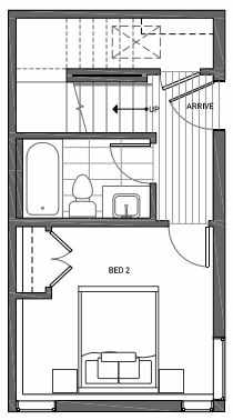 First Floor Plan of 3070G SW Avalon Way in West Seattle of Isla Townhomes