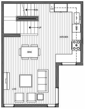 Second Floor Plan of 3070G SW Avalon Way in West Seattle of Isla Townhomes