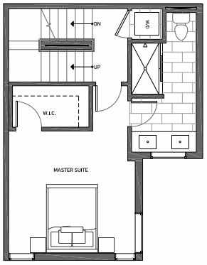 Third Floor Plan of 3070G SW Avalon Way in West Seattle of Isla Townhomes