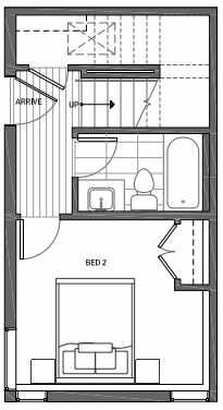 First Floor Plan of 3070I SW Avalon Way in West Seattle of Isla Townhomes