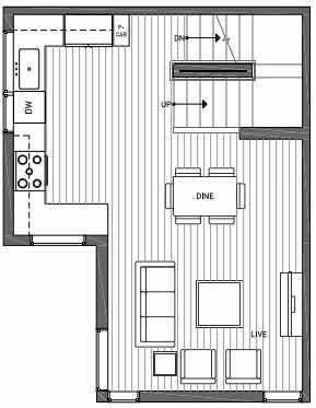 Second Floor Plan of 3070I SW Avalon Way in West Seattle of Isla Townhomes