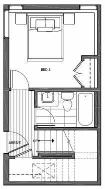 First Floor Plan of 3070H SW Avalon Way in West Seattle of Isla Townhomes