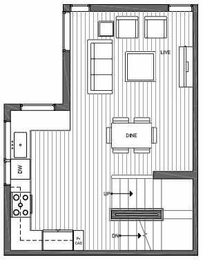Second Floor Plan of 3070H SW Avalon Way in West Seattle of Isla Townhomes