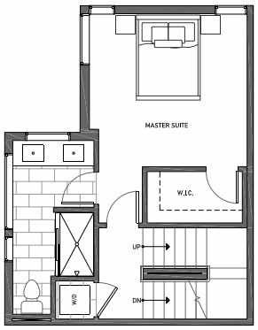 Third Floor Plan of 3070H SW Avalon Way in West Seattle of Isla Townhomes