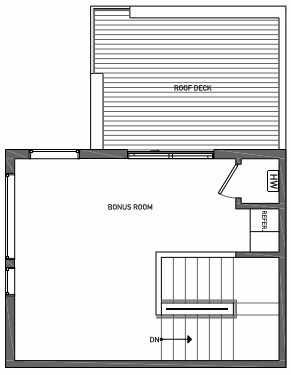 Fourth Floor Plan of 3070H SW Avalon Way in West Seattle of Isla Townhomes