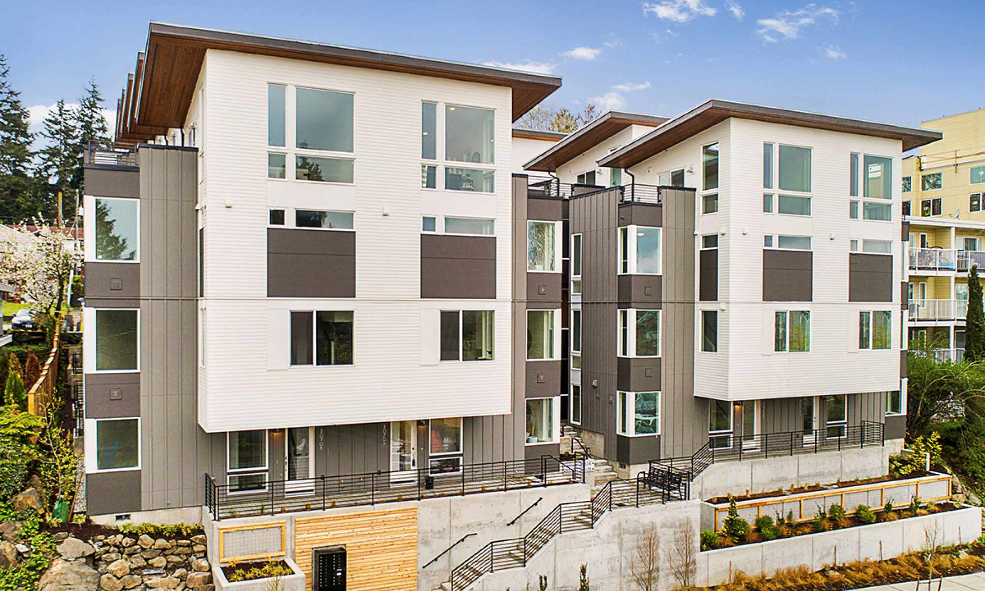 Front Exterior of Isla Townhomes, Located on SW Avalon Way in West Seattle