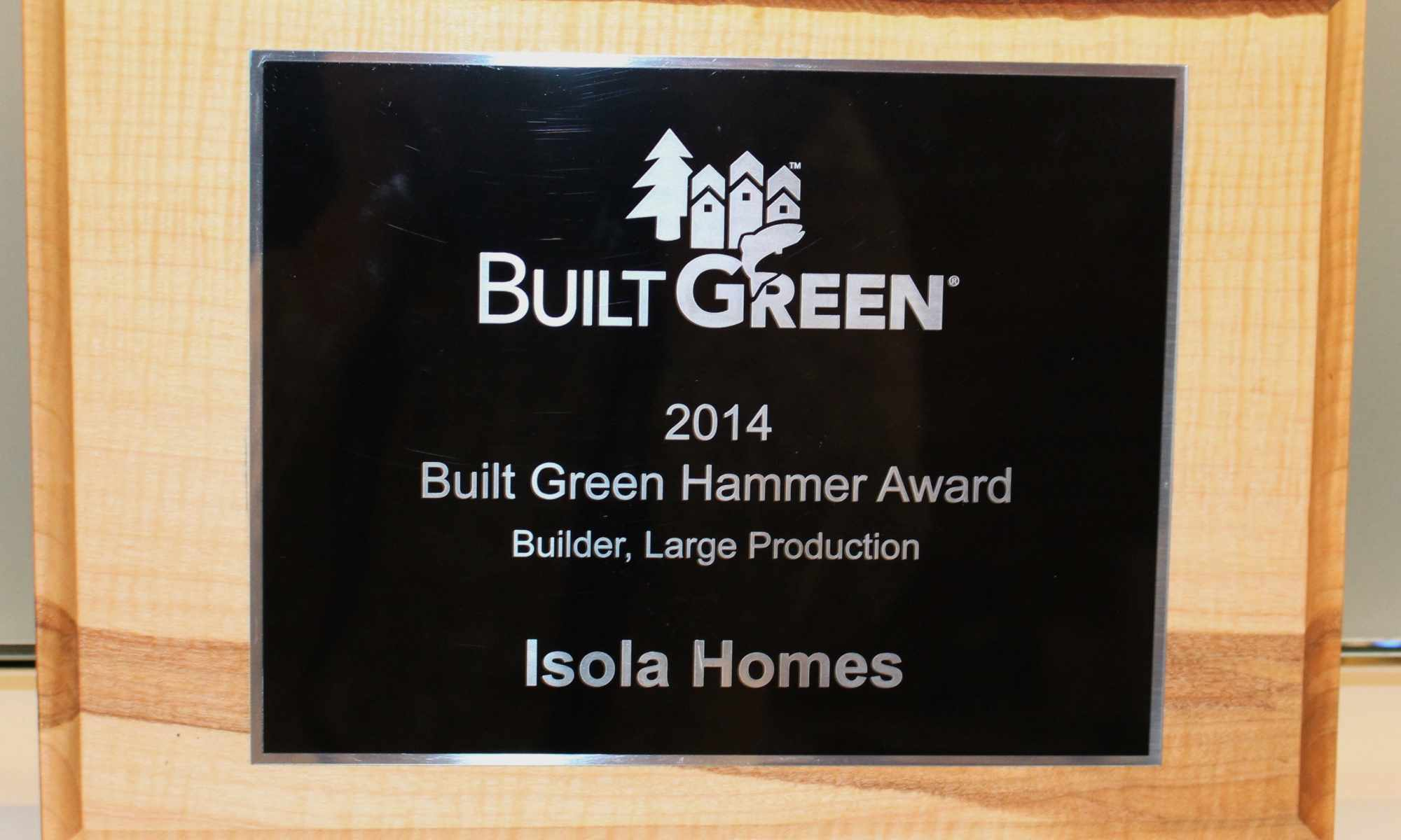 Isola Homes wins Built Green Hammer Award