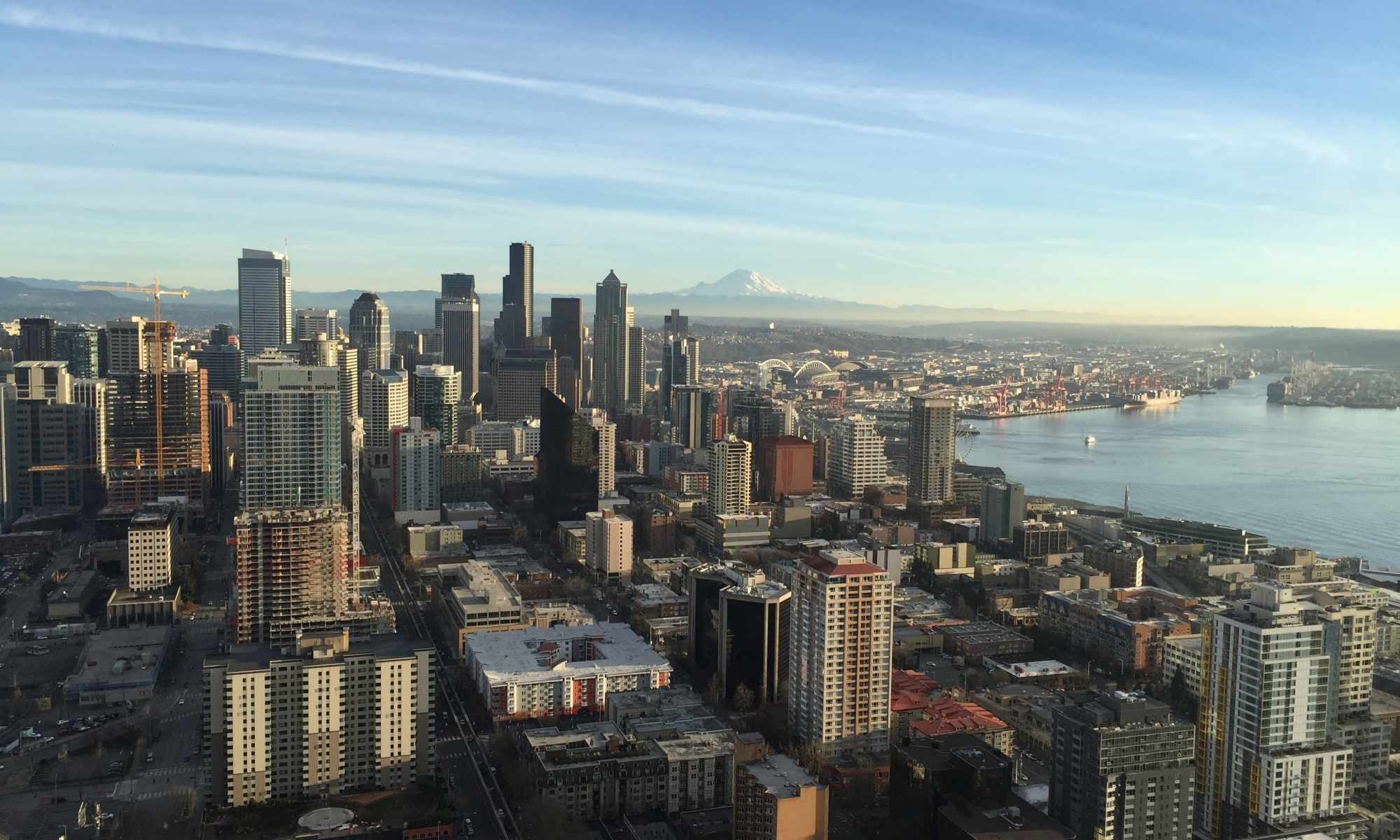 Aerial View of Seattle and Mount Rainier