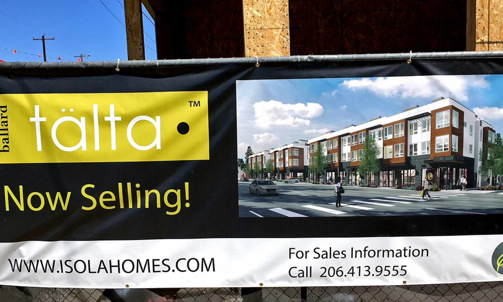 Sign Advertising Preselling at Talta Townhomes in Seattle, WA