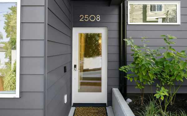 Front door of 2508 Everett Ave E, One of the Baymont Townhomes in Montlake