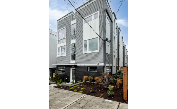 Exterior of the Corazon North Townhomes by Isola Homes