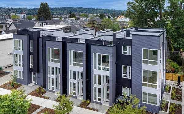 Exterior View of the Kai Townhomes Along 17th Ave NW in Ballard