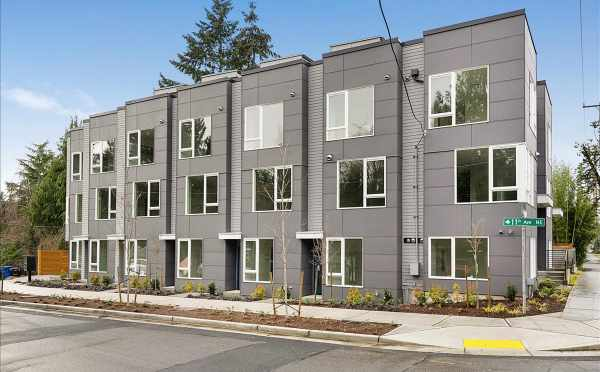 Exterior View of the Lily Townhomes in the Maple Leaf Neighborhood by Isola Homes