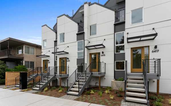 Front of the Oleana Townhomes in Ballard by Isola Homes