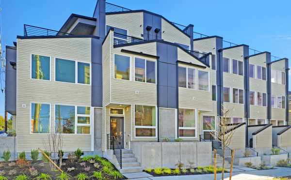 Front Exterior of the Emory Townhomes in the Green Lake Neighborhood of Seattle