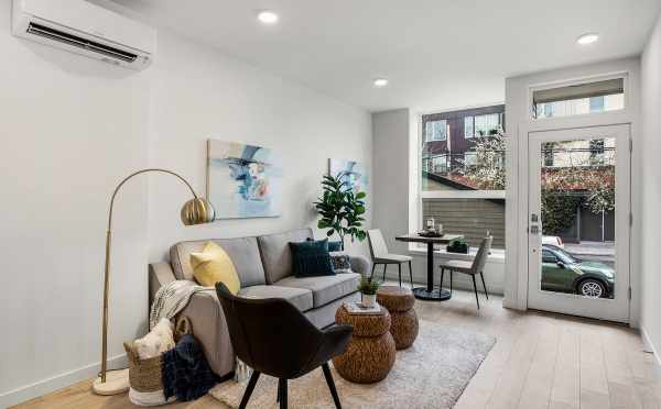 Living Room at 503E NE 72nd St at the Emory Townhomes in Green Lake