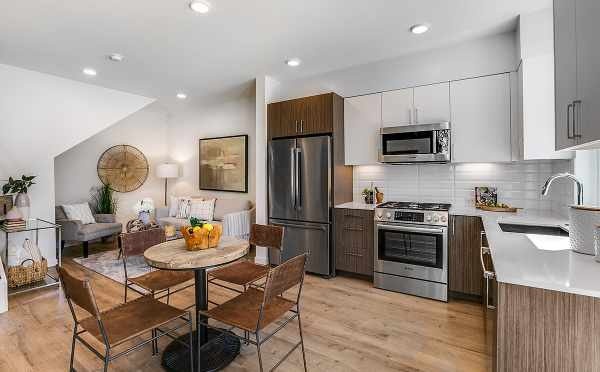 Kitchen, Dining Area, and Living Room at 422F 10th Ave E, One of the Core 6.1 Townhomes