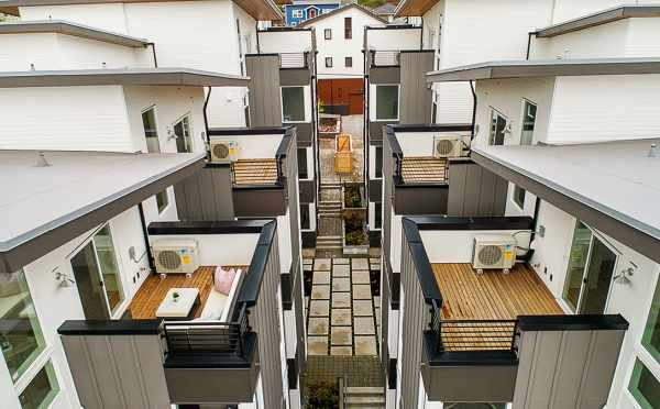 Overhead View of the Decks of the Isla Townhomes in West Seattle
